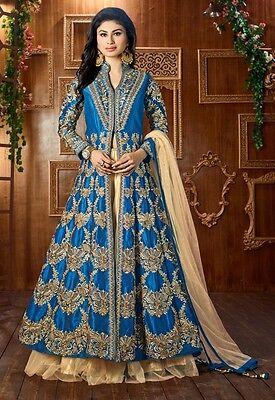 Bridal Wear Blue Tapeta Silk Lehenga Suit - 12048