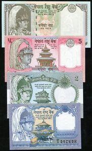 Nepal Banknotes 1 2 5 Rupees UNC 3 PCS
