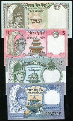 NEPAL SET 6 PCS 1 2 5 10 20 50 100 RUPEES P 29 37 69 to 72 RANDOM SIGNS UNC