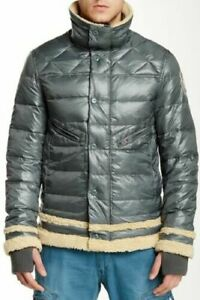 Men-039-s-Down-Puffer-Jacket-Gr-3xl-Gesteppt-Gepolstert-Winter-Mantel-Silber-Gruen-Bnwt