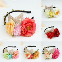 Women Flower Boho Floral Headband Girls Garland Festival Wedding Hairband