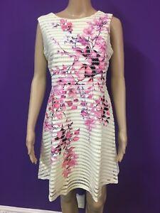 8d19fde9cf Lipsy White   Pink Floral Print Mesh Prom Skater Dress RRP £70 ...
