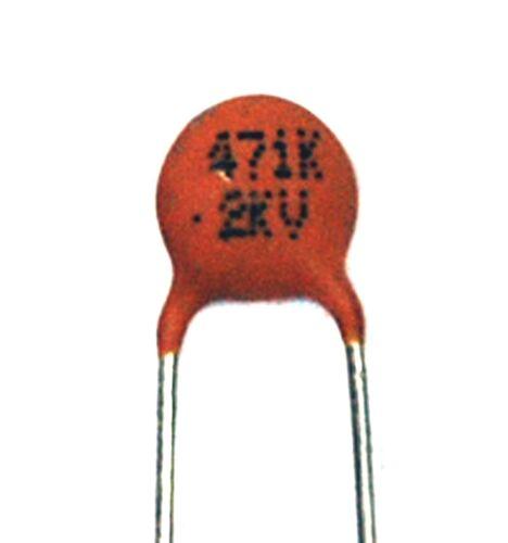 100pc Disc Ceramic Capacitor 471K 470pF 2KV K ±10/% Y5P pitch=5mm RoHS Taiwan *