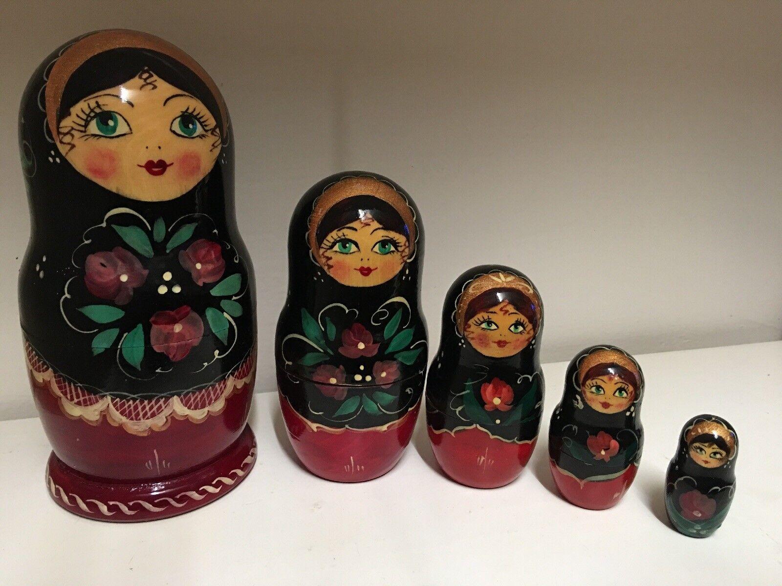 Russian Nesting Dolls Matryoshka 5 Pcs Signed by Artist 7  tall NEW