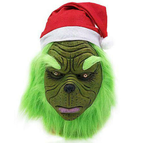 The Grinch Costume Halloween Cosplay Man Christmas Santa Fancy Dress Outfit Sets