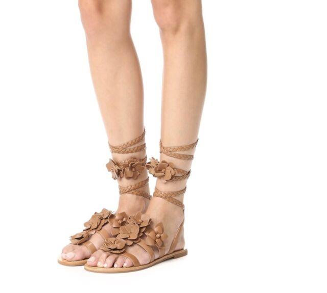 ec8c648ff446e1 Tory Burch Blossom Gladiator Size 5.5 Royal Tan Brown Leather Sandal  Wraparound