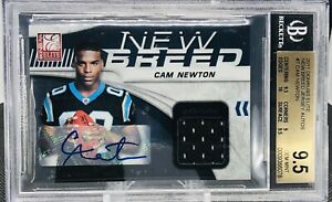 2011-CAM-NEWTON-ROOKIE-JERSEY-PATCH-AUTO-25-BGS-9-5-DONRUSS-ELITE-7-POP-2