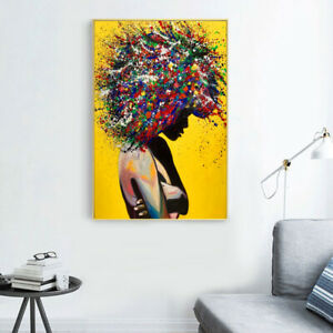 Modern Girl Portrait Canvas Printings Oil Painting Wall Art Poster Pictures