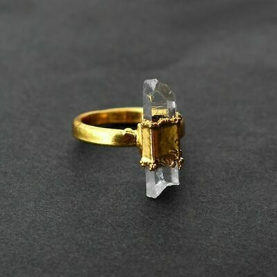 Natural Raw Opal 24k Gold Plated Antique Fashion Design Stackable Gemstone Ring