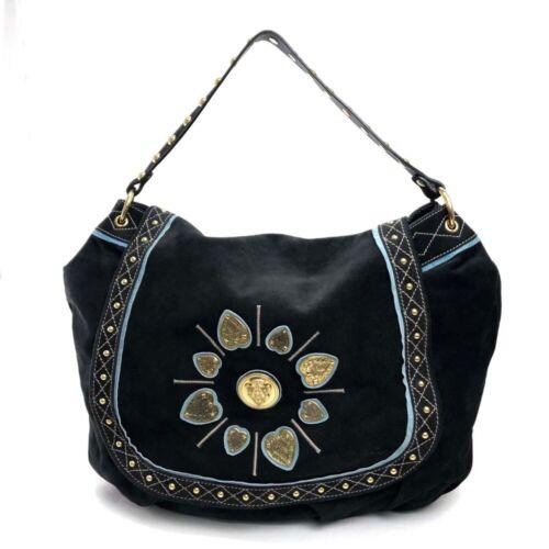 GUCCI Crest Suede Shoulder Bag Black 211960