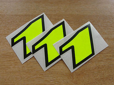 set of 3 - Black & Fluorescent Yellow number 1  decals / stickers IMPACT 60mm