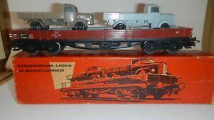 Marklin-H0-AC-4515-Vagon-de-Bordes-Bajos-DB-con-Mercedes-Lastwagen-Trenes