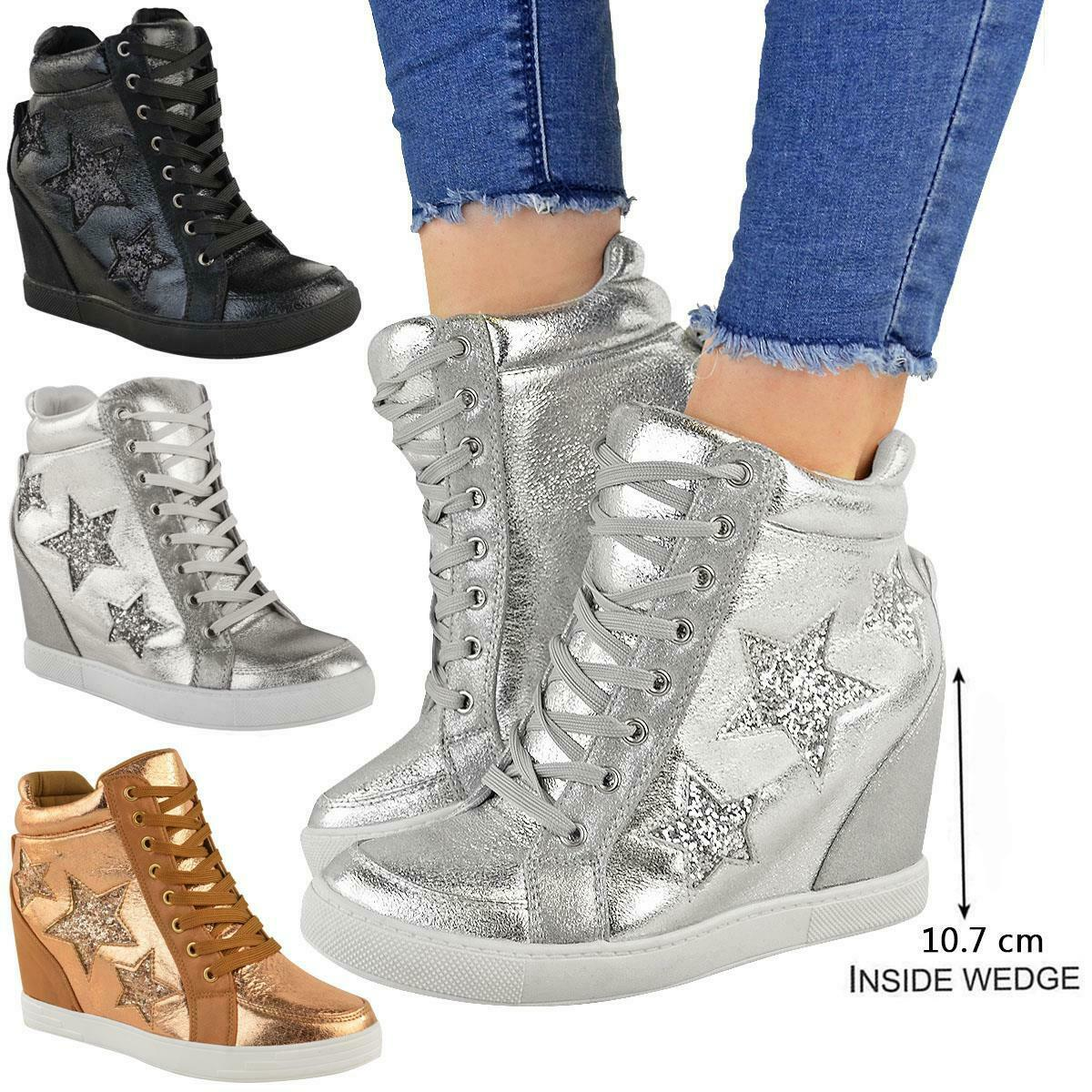WOMENS BLUE WHITE WEDGE LACE-UP BASEBALL HI-TOP ANKLE BOOTS TRAINER SHOES 3-8