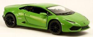 Nouveau-Lamborghini-Huracan-LP-610-4-vert-Modele-de-collection-12-5-cm-article-neuf-Kinsmart