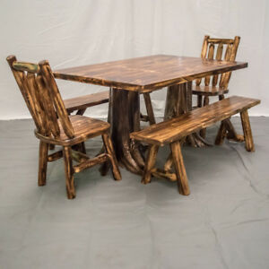 Tremendous Details About Northern Torched Cedar Log Stump Dining Table 2 Benches 2 Chairs 2249 Download Free Architecture Designs Embacsunscenecom