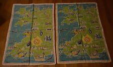 2 Vintage Cromlech Irish Linen Tea Towels Ireland Map Landmark Tourist Souvenir