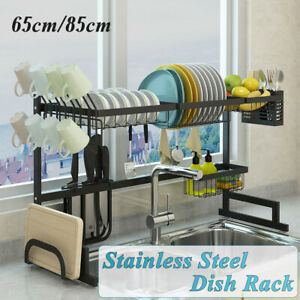 2-Tier-Dish-Drying-Rack-Drainer-Kitchen-Storage-Holder-Over-Sink-Stainless-Steel