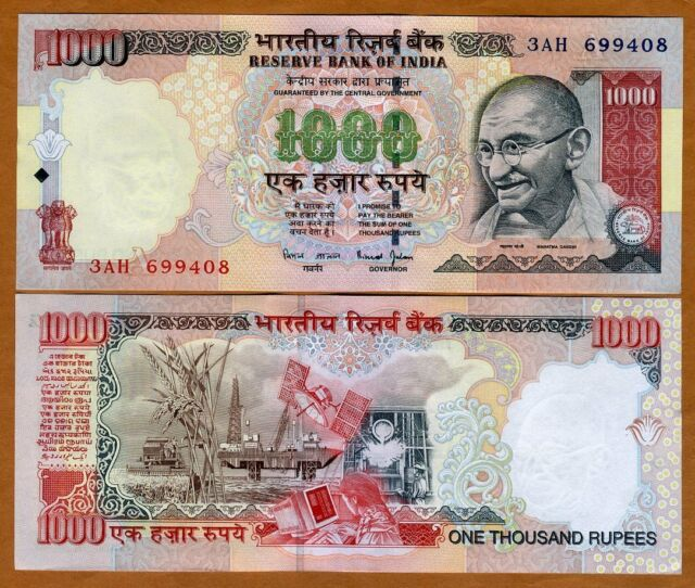 India, 1000 Rupees, ND (2000), P-94b, UNC > Gandhi