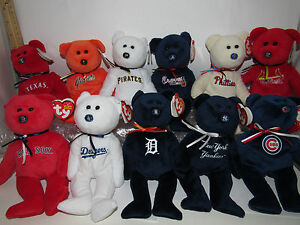 U-PICK-YOUR-TEAM-1-MLB-BASEBALL-TY-Beanie-baby-TEDDY-BEAR-logo-COLOR-NWT-8-034-Size