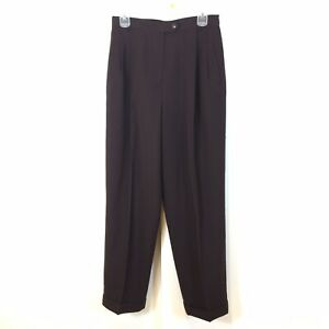 Austin Reed Women S Flat Front Wool Pants Size 10 Brown Front Pleats Cuffed Hems Ebay