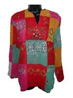 Sandy Starkman Multi Color Sequins Embroidered Shirt Blouse Sz Small