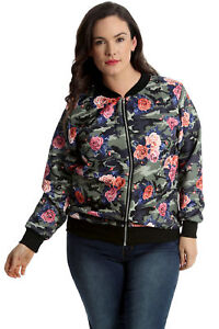 3db170342cf09 Details about New Womens Plus Size Bomber Jacket Ladies Camouflage Floral  Print Rib Arm Cuffed