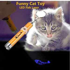 Interactive led Training Funny Cat Play Toy Laser Pointer Pen Fish Animation