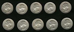 Lot-of-10-Silver-Coins-US-George-Washington-Silver-Quarters-Year-1964