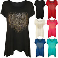 New Womens Plus Size Heart Stud Hanky Hem Ladies Short Sleeve Long Top 14 - 28