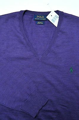 NWT Polo Ralph Lauren Men's V-Neck Custom Fit Merino Wool Purple Sweater S
