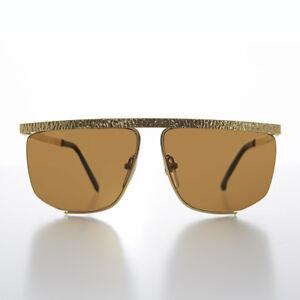 567239c98a La imagen se está cargando Dorado-Semi-Montura-Hip-Hop-Vintage-Gafas-de-