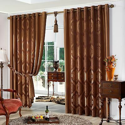 {WAREHOUSE CLEARANCE}Wide Width Classic Damask Jacquard Grommet Curtain Pair