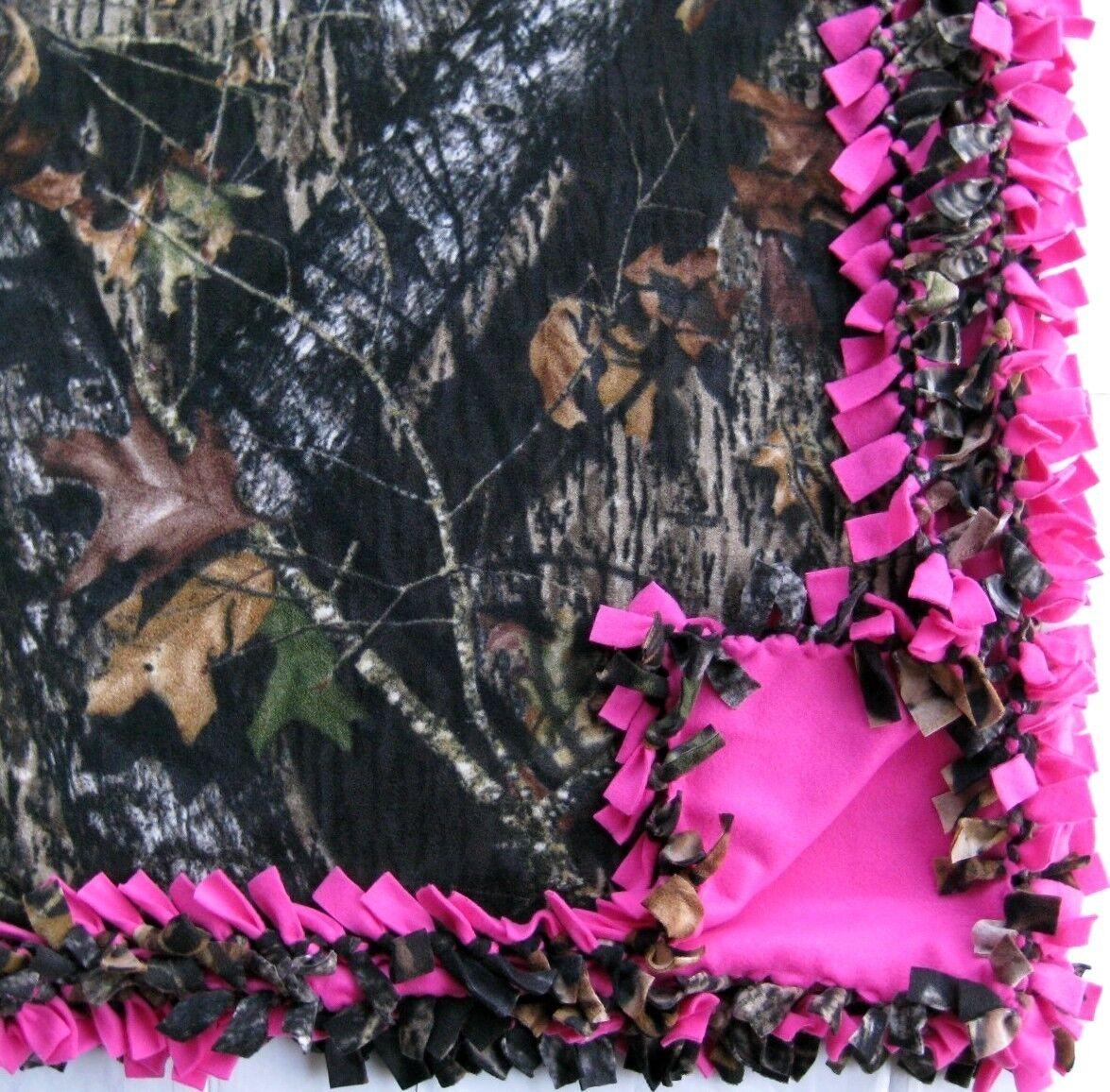 Handmade FLEECE TIE-BLANKET 60X54 Rustic Mossy Oak Camouflage Hot Pink - 2 layer