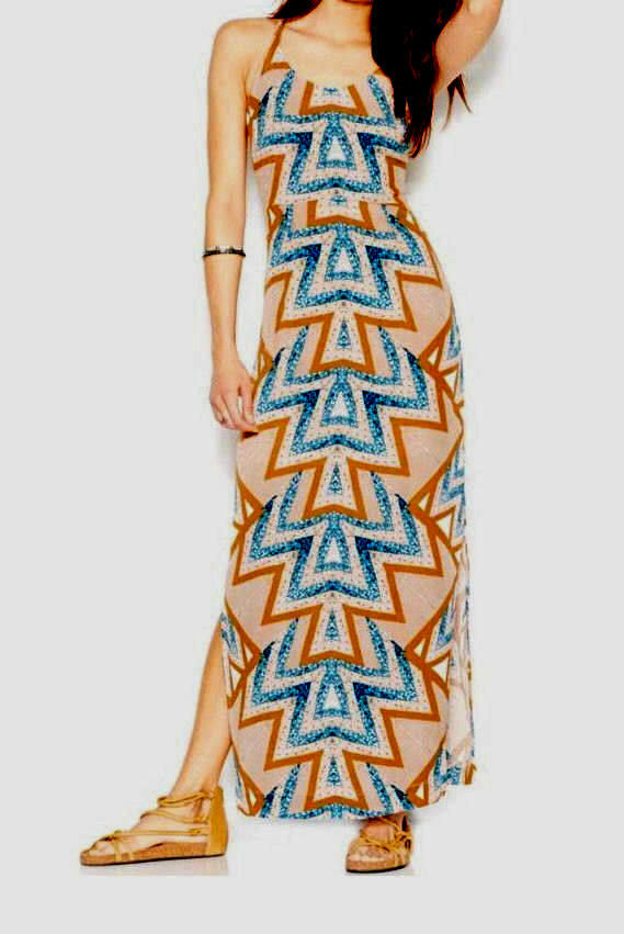 FREE PEOPLE Serves You Right' Printed Maxi  Mint Tribal Dress Sz 6 New