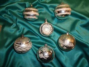 6-alte-Christbaumkugeln-Glas-Reflexkugeln-silber-weiss-Weihnachtskugeln-Vintage