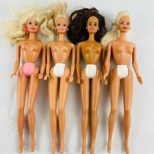 Barbie-Doll-Lot-of-4-Nude-Dolls-1990s-Mattel-Blonde-Brunette-Painted-Panties