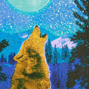 Handmade Cotton 3d Wolf Glow In The Dark Tapestry Tablecloth Spread