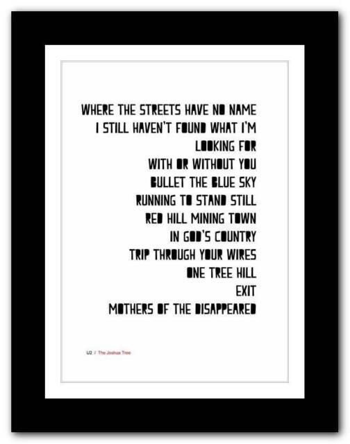 ❤ U2 - The Joshua Tree ❤ typography poster art print - A3 A2 A1 A4