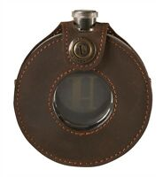 Harkila Round Steel Hip Flask 150ml In Leather Case - Shooting, Hunting, Gift