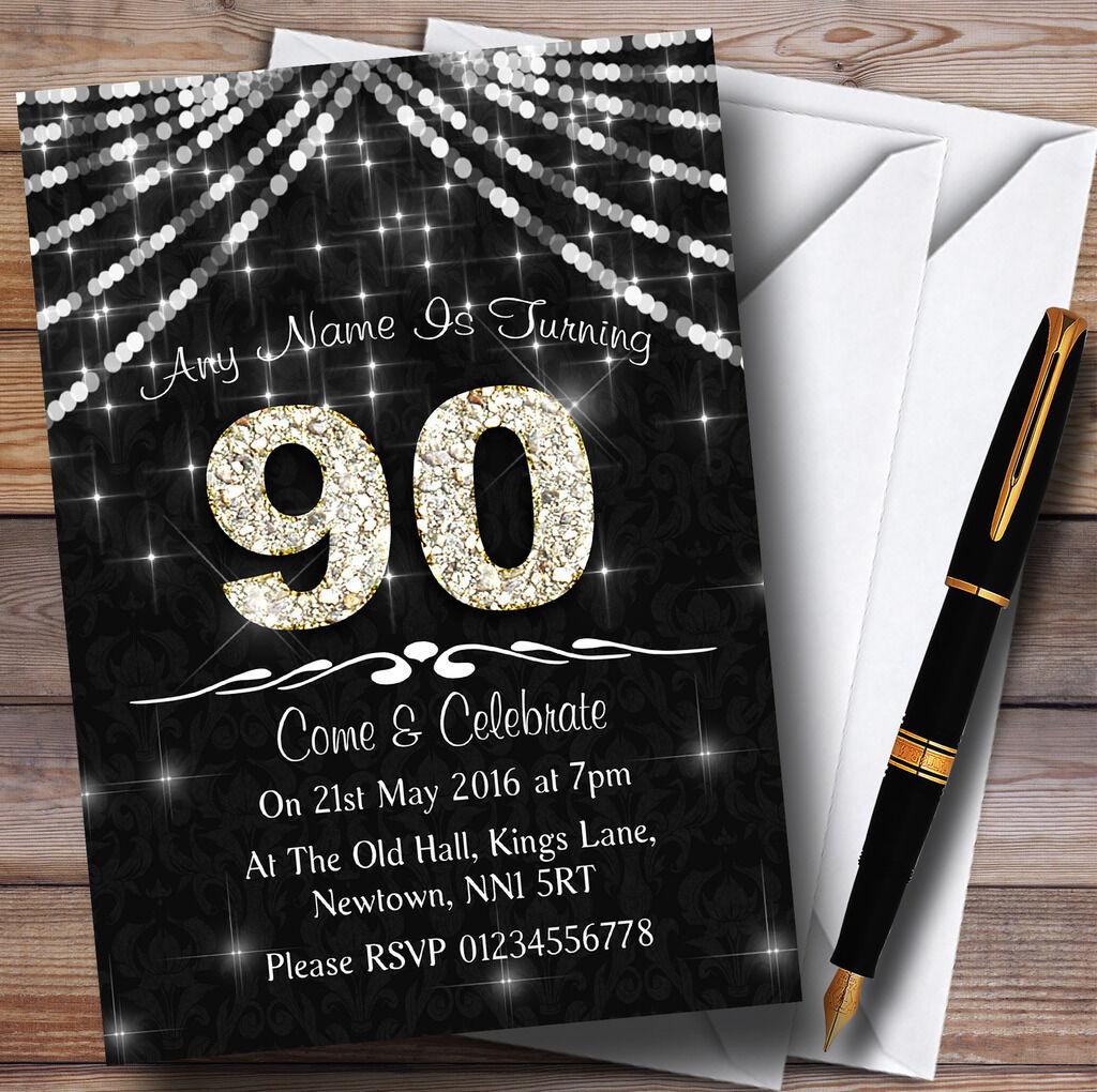 90º en gris oscuro y blancoo Bling Sparkle Fiesta De Cumpleaños Personalizadas Invitaciones
