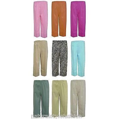 Womens new stretch bengaline crop trouser plus size 16 - 30 full elastic waist