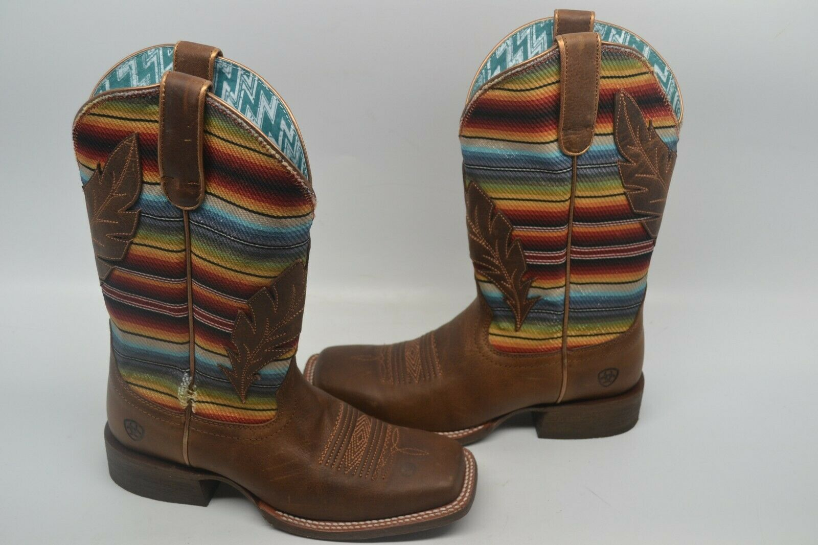 Ariat Women's 7.5 B Circuit Autumn Tan Serape Feather Square Toe Boots 10025050