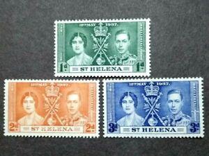 1937 St. Helena Queen Elizabeth II Coronation Complete Set - 3v MLH