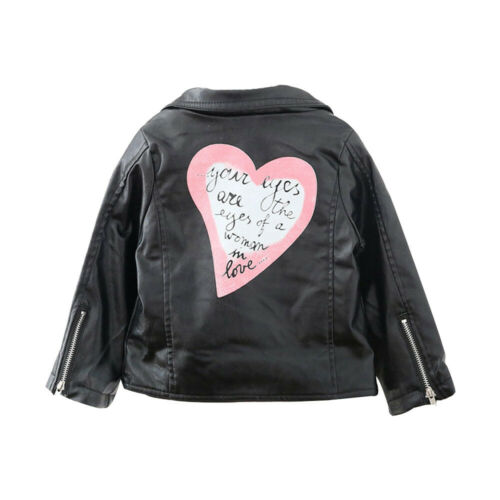 Toddler Kids Baby Girls Autumn Winter Outwear Leather Coat Casual Jacket Clothes