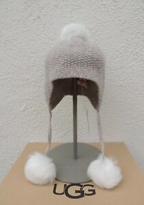 a40c0670c16 Image is loading UGG-OATMEAL-HEATHER-TRI-POM-CASHMERE-HAT-WOMEN-