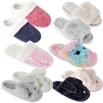 ladies fluffy mule slippers