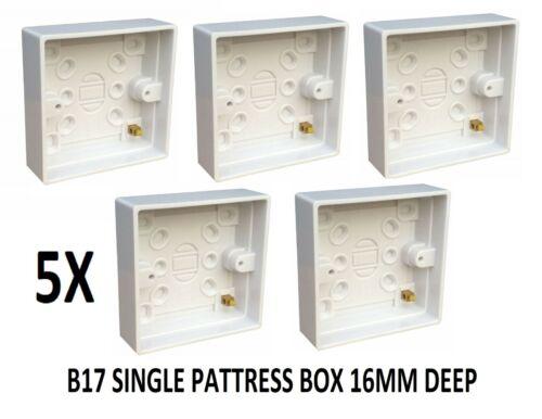 5x 1 Gang Simple Surface Plastique Arrière Boîte Commutateur B17 Socket Pattress 16 mm