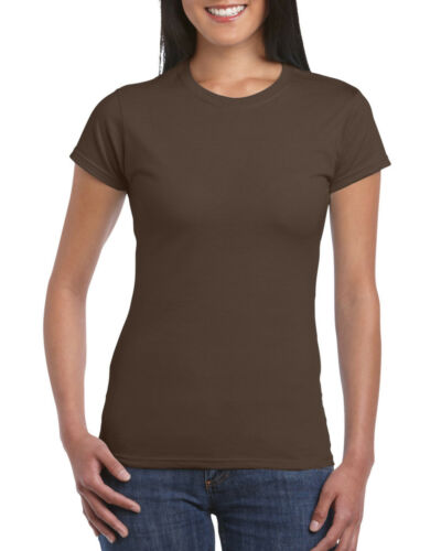 Gildan WOMEN/'S T-SHIRT 100/% SOFT COTTON FITTED TOP TEE PLAIN BASIC 30 COLOURS