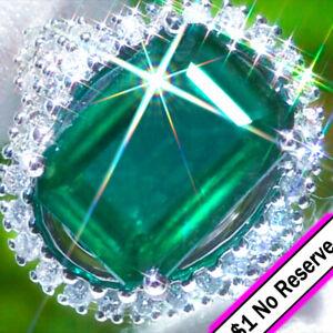 Emerald-Ring-14K-GOLD-9-61ct-Diamond-Estate-Vintage-Zambian-Emerald-Ring-NoRsrv