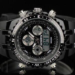 INFANTRY-Herren-Digitaluhr-Analog-Armbanduhr-Uhr-Stoppuhr-Datumsanzeige-Schwarz